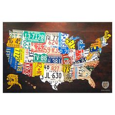 Cool poster!  United States License Plate Map Poster