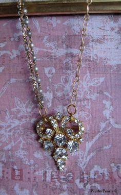 Rhinestone Brooch Vintage Repurposed Pearl Mixed by WinterPearls, $44.00