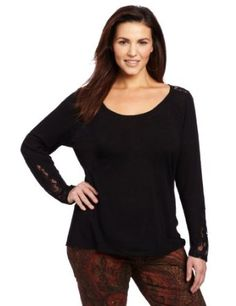 Lucky Brand Women's Plus-Size Indian Lace Inset Tee,$49.50