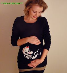 Glow in the Dark Halloween Skeleton Shirt by CutsieTootsieApparel