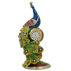 peacock clock/jewelry trinket box.