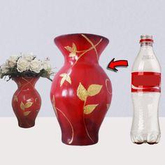 Diy Crafts For Home Decor, Diy Crafts Hacks, Diy Arts And Crafts, Diy Projects, Vase Crafts, Cement Crafts, Plastic Bottle Crafts, Diy Bottle, Cardboard Crafts