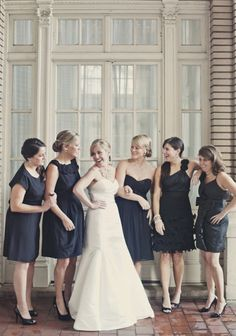 black short mix and match bridesmaid dresses styles