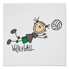Stick Figure Girls Volleyball T-shirts and Gifts Poster