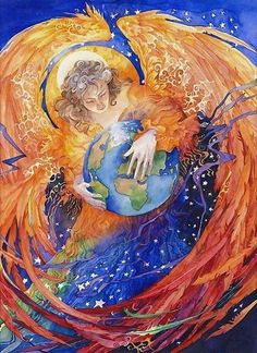 Angel cradling the Earth by Helena Nelson Reed