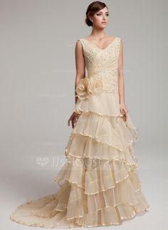 A-Linie/Princess-Linie V-Ausschnitt Sweep/Pinsel zug Organza Brautkleid mit Spitze Perlen verziert Blumen Gestufte Rüschen Gefaltet (002017527)