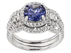 Meet your new favorite Pre-Owned Blue & Cubic Zirconia Rhodium Over Sterling Silver Ring JTV offers exceptional quality and value with this piece. Man Made Diamonds, Diamond Simulant, Blue Topaz Ring, Types Of Rings, Necklace Types, Sterling Silver Rings, Diamond Cuts, Jewels, Gemstones