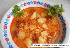 Egg barley soup with sausage Barley Soup, Goulash, Cantaloupe, Sausage, Eggs, Fruit, Recipes, Food, Sausages