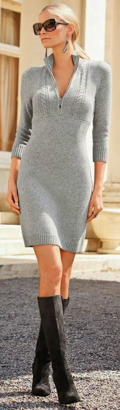 Ladies long grey color sweater dress fashion with black long shoes