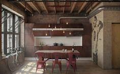 industrielle Loft Wohnung Ziegelwand Küche klein eingebaut
