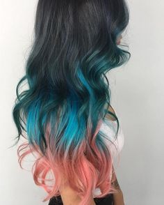 Mermaid waves Hair by @bree.little using #UnicornHair in Blue Smoke, Anime, and equal parts Neon Peach + Bunny.