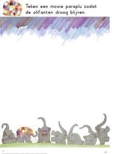 teken een mooie paraplu zodat Elmer droog blijft (kleutergroep)
