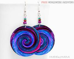 Blue & Purple Swirl  Earrings  Free  Shipping dangle Round decoupage 2-sided Jewelry diameter 4cm (1,57 inch) ,  gift for her under 25 (C1). , www.MADEbyMADA.etsy.com