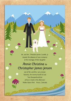 Married in the Mountains wedding invitation  A8 by loobirdpress, $5.00