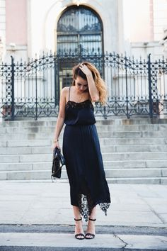 {Navy blue dress.}