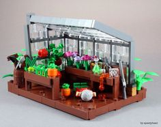 """This Vignette is part of a series for a crime scene contest at my LUG Rogue Bricks. It is based upon a popular german song from 1971 """"Der Mörder ist immer der Gärtner"""" (The murderer is always the gardener) by songwriter Reinhard Mey. The song is a parody Lego Modular, Lego Design, Lego Duplo, Deco Lego, Casa Lego, Lego Furniture, Amazing Lego Creations, Lego Craft, Lego Mecha"""
