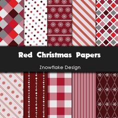 10 red christmas papers size 10 x 10 inch  Perfect for scrapbooking, cards, invitations, etc.