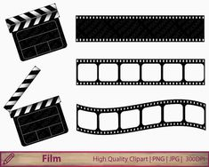 Movie clipart, film clapperboard clip art, film strip clipart, clapboard illustration, cinema, digital instant download, jpg png 300dpi