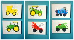 More footprint art on canvas. A dump truck, tractors, a fire engine, Thomas…