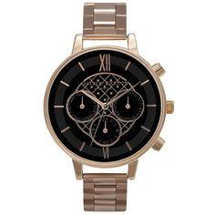 Olivia Burton Chrono Detail Black Dial Bracelet Watch - Rose Gold found on Polyvore featuring jewelry, watches, rose gold, bracelet watches, bird jewelry, bird bracelet, clasp bracelet and bracelet jewelry