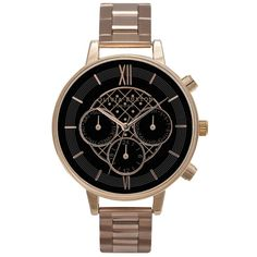Olivia Burton Chrono Detail Black Dial Bracelet Watch - Rose Gold ($220) ❤ liked on Polyvore featuring jewelry, watches, accessories, bracelets, rose gold, black dial watches, pink gold watches, pink gold jewelry, black face watches and watch bracelet