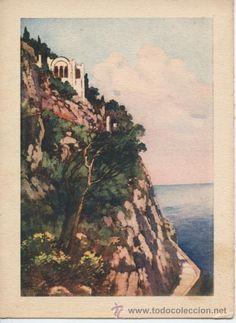 Capri - Scala Fenicia & Villa San Michele Capri Italia, Isle Of Capri, Villas, Pergola, Italy, San, Amazing, Painting, Vintage Postcards