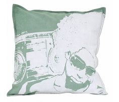 HK-living Sierkussen katoen met print groen/wit 45x45cm