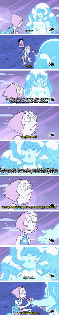 Rose quartz<<<this is sad because rose thinks that pearl is only doing this because she is a pearl and she is meant to obey her