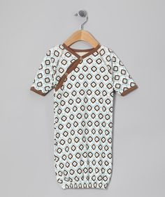 Take a look at this Blue & Brown Checkerboard Organic Wrap Gown - Infant by Organic Natural Charm on #zulily today!
