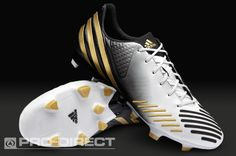 adidas Football Boots - adidas Predator LZ TRX FG - Firm Ground - Soccer Cleats - Running White-Metallic Gold-Black