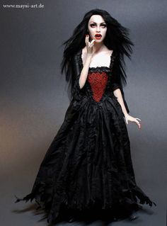 Queen Of Vampires 1//12 scale toy Long Red Skirt w//Skull Detail
