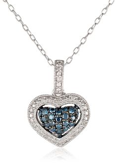 Black Rhodium Sterling Silver Blue and White Diamond Heart Pendant Necklace (0.25 Cttw, G-H Color, I1-I2 Clarity), 18' *** Visit the image link more details.