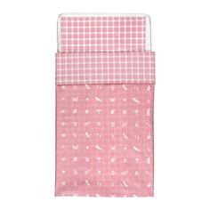 $10 duvet and pillow case  VANDRING SKOG Crib duvet cover/pillowcase IKEA Cotton is soft and feels nice against your child's skin.