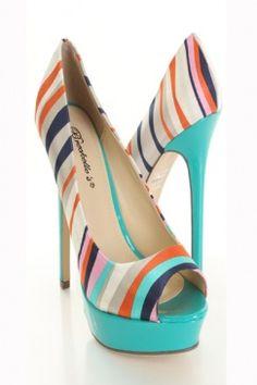 Aqua Satin Faux Leather Stripe Peeptoes Platform Pump Heels