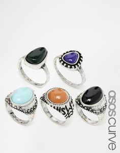 ASOS CURVE Stone Ring Multi Pack