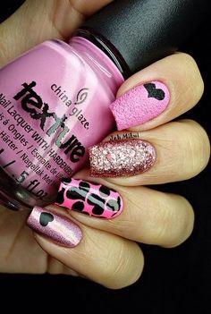 Pink and black heart Nail art design