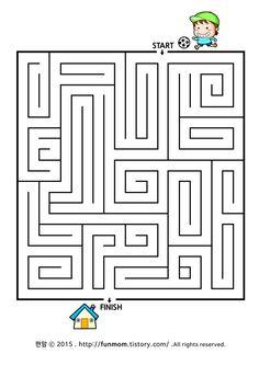 어린이 미로찾기프린트-집으로 가요 child maze game:: Maze Worksheet, Worksheets, Mazes For Kids, Maze Game, Invite, Invitations, Brain Breaks, Maths, Activities