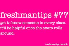 Freshies lurking Are you a college freshman? Then follow this blog. Ask questions. Submit your...