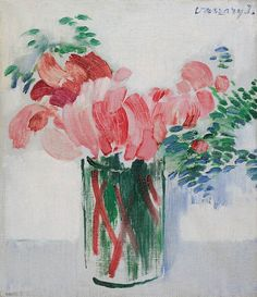 Cyclamens in a Glass 1930 János Vaszary Art Prints, Painter, Drawings, Flower Art, Still Life, Painting, Art Nouveau, Art