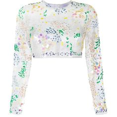 Ashish Embellished Organza Cropped Top ($1,142) ❤ liked on Polyvore featuring tops, white, sequin top, white top, embellished tops, white crop top and beaded crop top