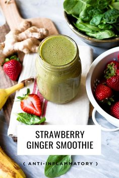 Wake up your mouth with this Strawberry Ginger Zinger Green Smoothie Strawberry Spinach Smoothie, Spinach Smoothie Recipes, Yummy Smoothies, Breakfast Smoothies, Homemade Smoothies, Vitamix Recipes, Salad Recipes, Diet Recipes, Healthy Recipes