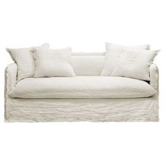 canapé 3 places recouvert d'un tissu en lin froissé - graine d'intérieur
