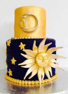 Sun, Moon and Stars cake (accidents happen!) - Cake by Ellice