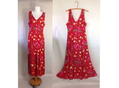 Vintage Floral Maxi Dress / Button Up Duster by sixcatsfunVINTAGE