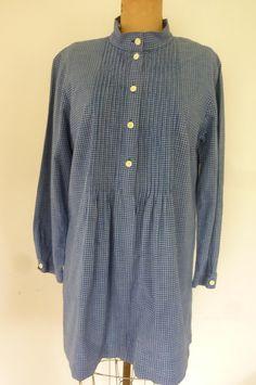 Vintage Marimekko Blouse 80's Oversize 100% Blue Check Cotton Tuck Pleat Yoke Made in Finland Size L by ZoomVintage on Etsy