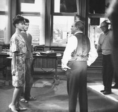 Pamela Tiffin, Horst Buchholz, James Cagney, and Billy Wilder on the set of One, Two, Three