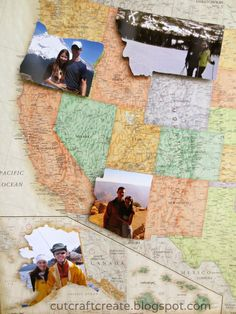 Cut photos in the shape of the state/country where you took them and paste onto map.