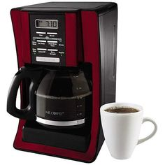 Red programmable coffee maker brew 12 cup Stainless steel - fast and easy