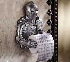 Claim the throne as your own! Our wall-mounted toilet tissue knight is cast in quality designer resin and hand-painted to capture every amazing detail of his Medieval mannerisms. - http://thegadgetflow.com/portfolio/knight-tissue-holder-65/