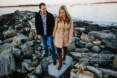Danielle & Josh enjoyed their engagement session on a beautiful fall day walking across crunched leaves at Gilsland Farms, part of the Maine Audubon Center, and finished their session snuggled on the coast at East End Beach. Bethany & Dan Photography captured the epitome of a perfect Maine engagement.